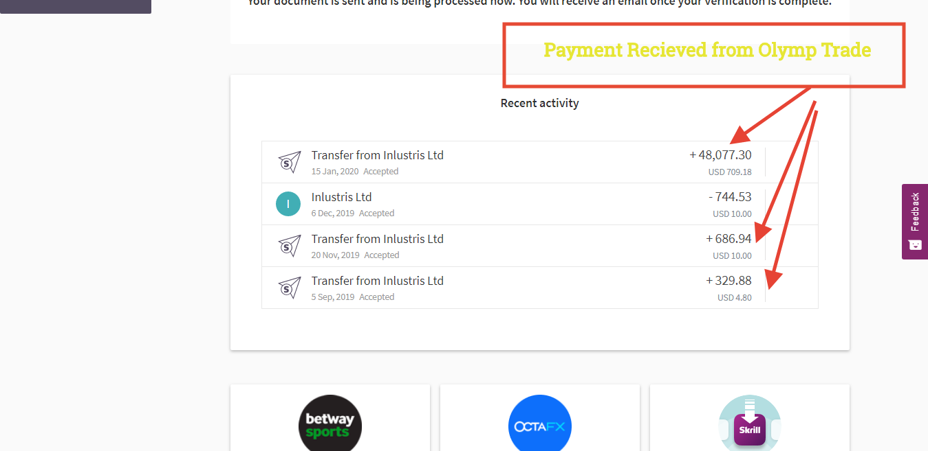 Olymp Trade Withdrawal Proof